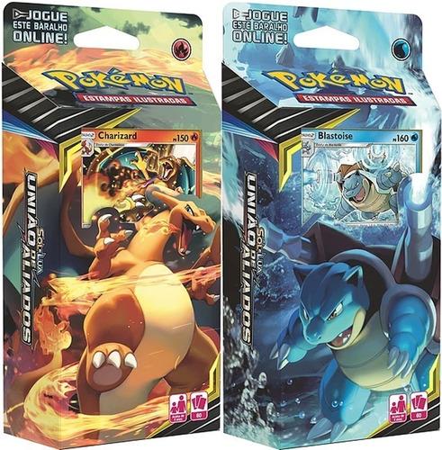 2 Decks Pokemon União Aliados Charizard E Blastoise - Copag