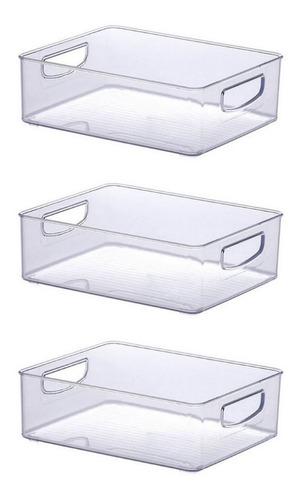 Imagem 1 de 7 de 3 Cestos Organizadores Com Alça Transparente 25 X 20 X 8 Cm