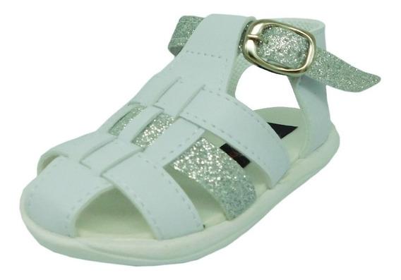 Sandalias Franciscanas Niñas Blancas Glitter Plata 16 Al 21