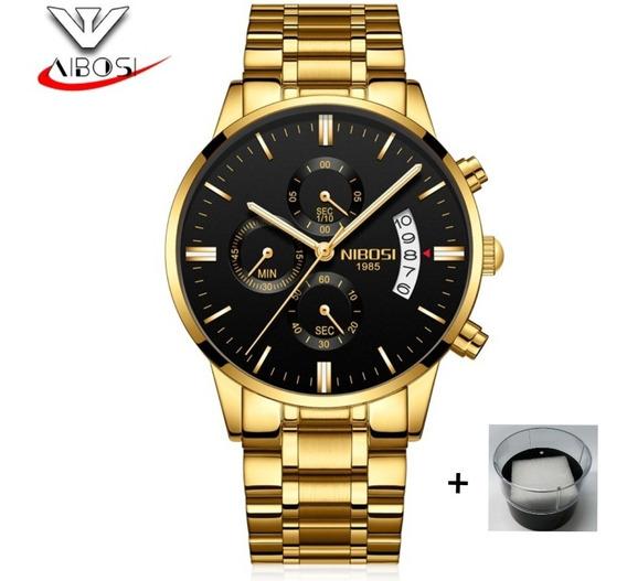 Promoção Relógio Nibosi Original Dourado Fundo Preto