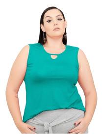 Roupa Feminina Regata Decote Gota Plus Size 56+