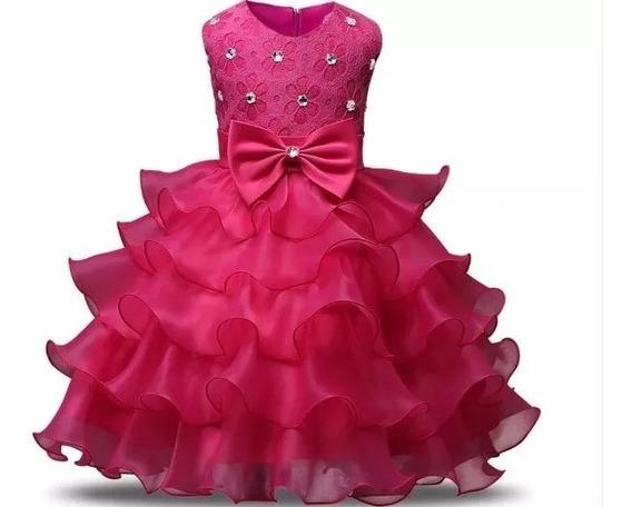 Vestido Festa Infantil Tutu Babado Renda Casamento Dama Luxo