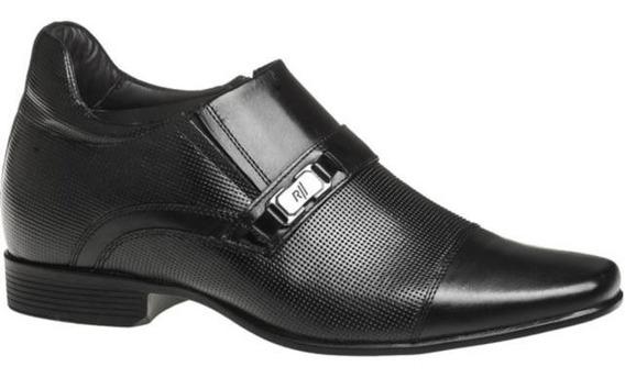 Sapato Rafarillo 53002 Palmilha De Aumento 7cm Couro Preto