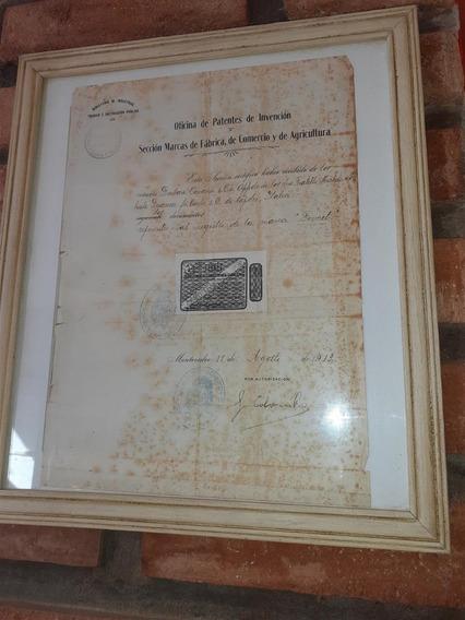 Antiguo Documento Registro Marca Fernet Branca 1913
