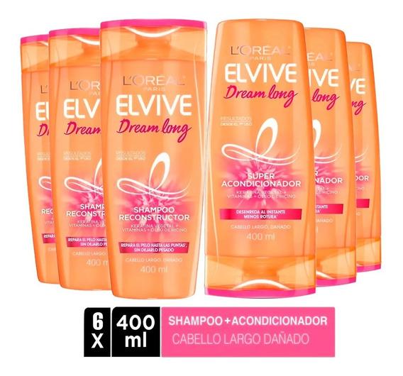 Pack 3 Shampoo + 3 Aco Elvive Dream Long L
