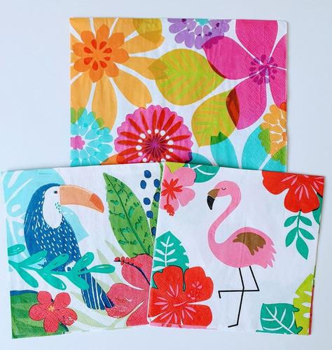 Servilletas Decoupage Set Flamingo Frutal Laura Craft