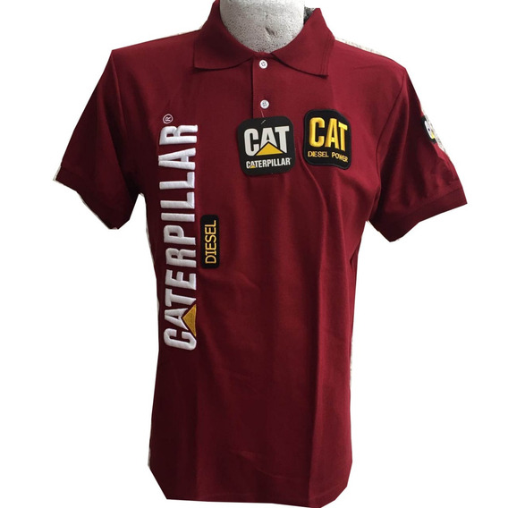Playera Tipo Polo Caterpillar Cat Vino Envío Gratis