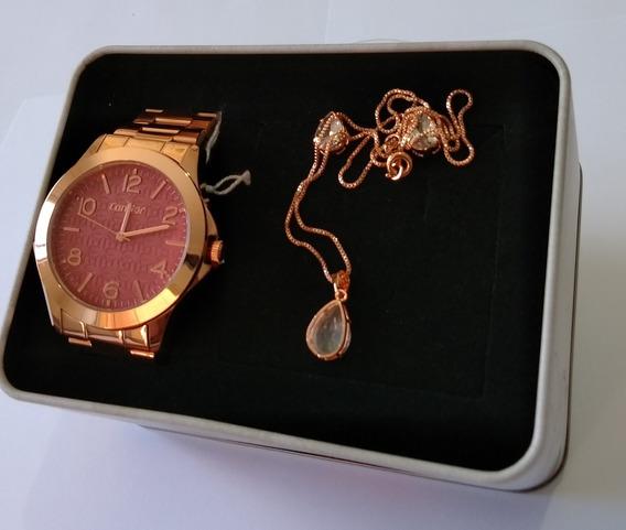 Relógio Feminino Dourado Rose Condor Kit Joia Co2036kug/k4n.