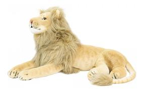 Leão De Pelúcia Deitado 70cm Realista Fofy Toys