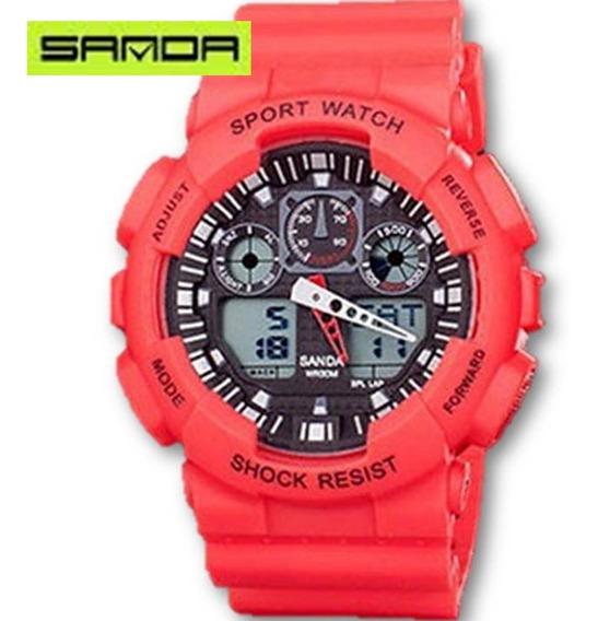 Relógio Masculino Sanda 899 Vermelho Prova De Água Cronometro Calendário Alarme E Luz Esporte Shock