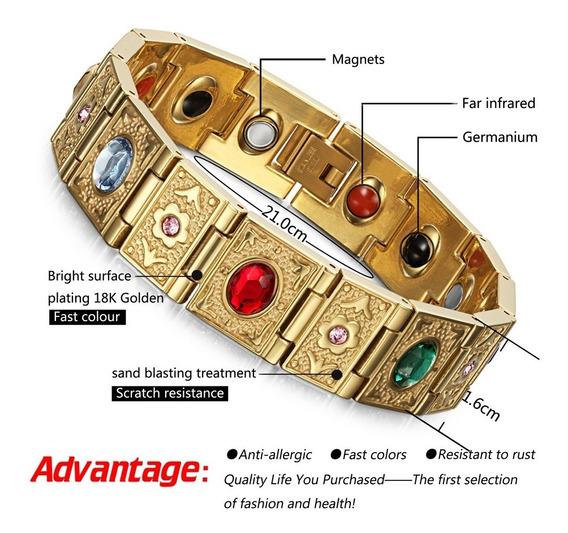Pulseira Feminina Magnética Aço Inox 316 Folhada Ouro
