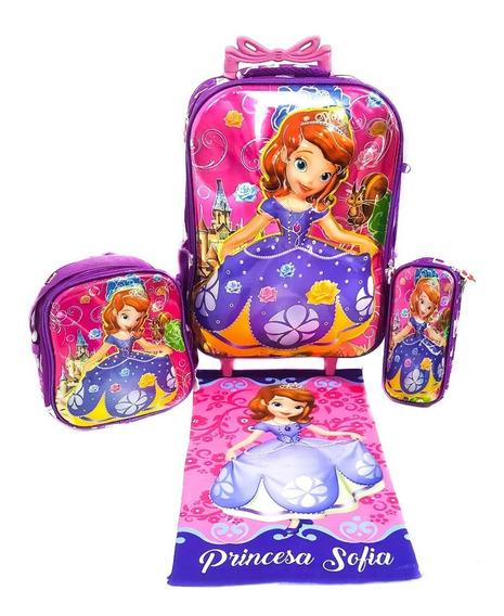 Mochila Kit Com Rodas G Princesa Sofia + Toalha Brinde P2