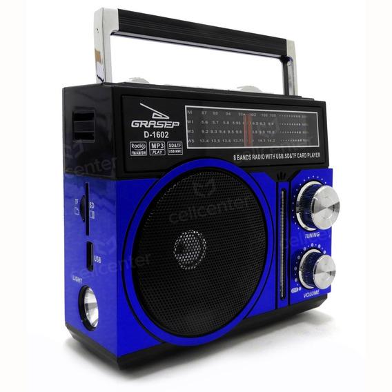 Radio Retrô Recarregável Am Fm 10w Sd Mp3 Grasep D-1602