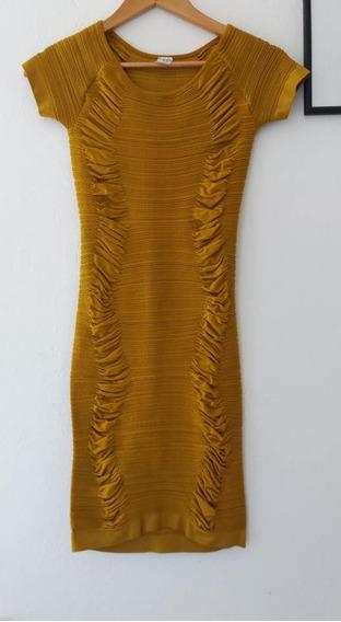 Vestido Mostaza Tubo Elastizado Importado A La Rodilla