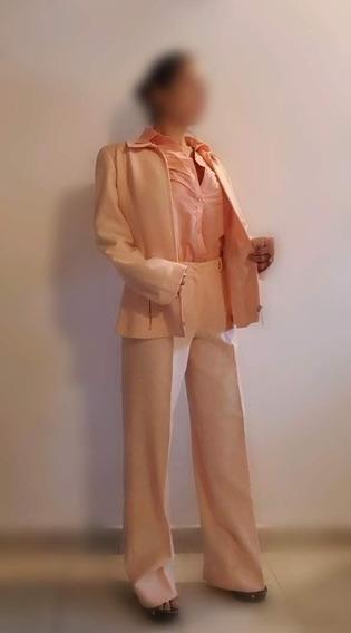 Traje Rosa Salmon Mujer Talle 3 Pantalon 46 - San Fernando