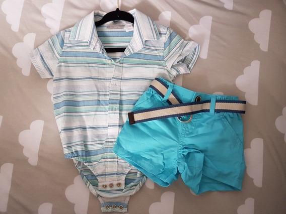 Ropa Bebe Niño Monito Camisa Short Varon Conjunto