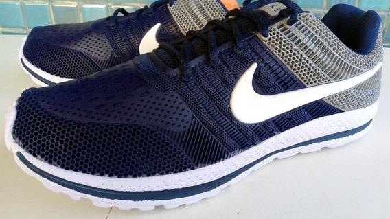 Tenis Nike Nº 42 Azul Marinho Cinza Branco Super Leve Usado 1 Vez