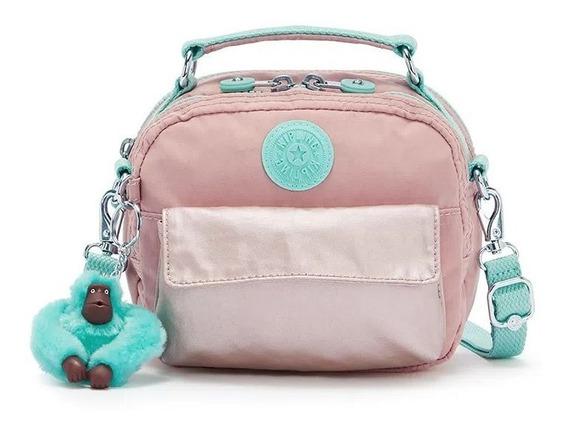 Bolsa Infantil Pequena Kipling Puck Rose Com Verde Água
