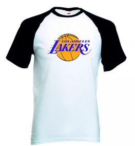 Camiseta Raglan Branca Los Angeles Lakers, Camisa Nba