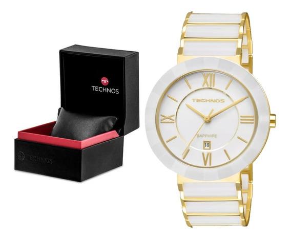 Relógio Technos Cerâmica Safira Grande 2015bv/4b Branco Nf