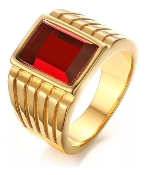 Anillo Acero Inoxidable Con Oro 18 Kts Cristal Rojo Hombre!!