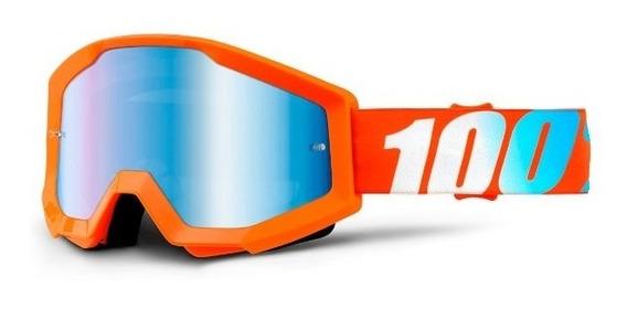 Antiparras 100% Espejadas Strata Naranja Motocross Atv