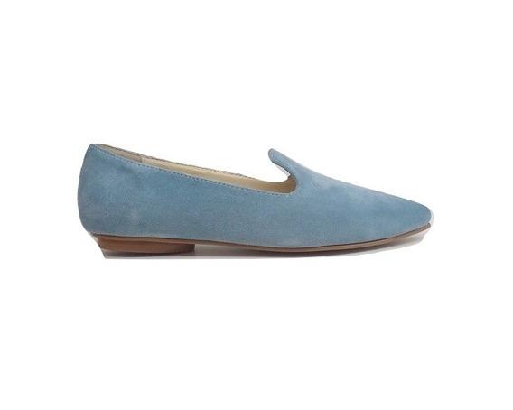 Zapato Mujer Mocasín En Punta Natacha Gamuza Celeste #141