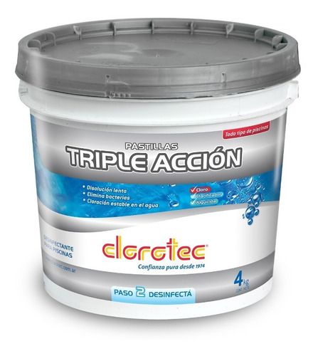 Imagen 1 de 6 de Pastillas Triple Accion Disol Lenta Pileta Cloro Clorotec 4k