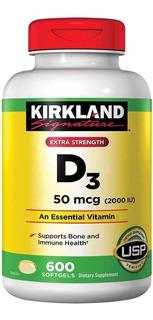 Vitamina D3 50mcg 2,000iu Ayuda Corazon Huesos 600 Softgels