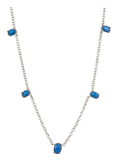Colar Pedrinhas Azul Safira Folheado Ródio Prata