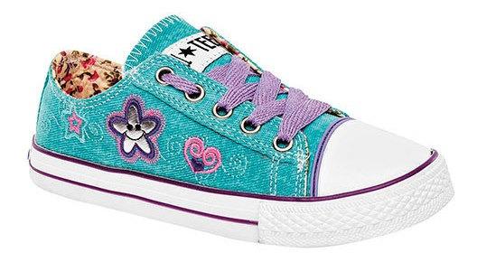 Zapato Tenis Textura Dtt62050 Liso Niña Bordado Estrella