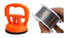 Rolo Estanho 0,3mm Fio De Solda Fino + Ventosa Sucção 5,5cm