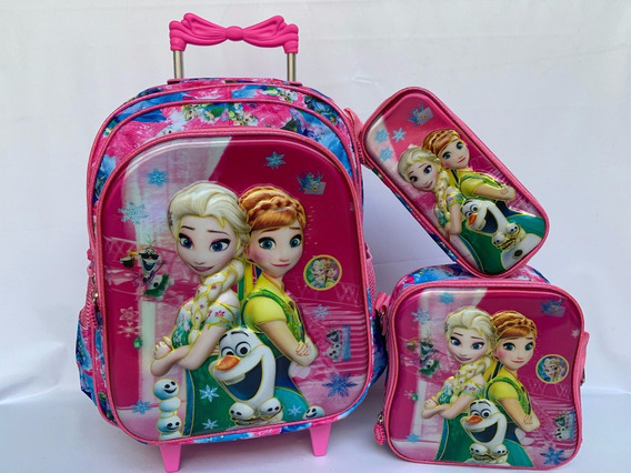 Kit Mochila Frozen Infantil Lancheira +estojo Rodinhas 6d Y1