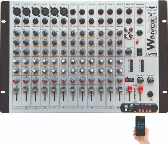 Mesa De Som 12 Canais Winvox Uwx 12 Usb Efeito Bluetooth Fm
