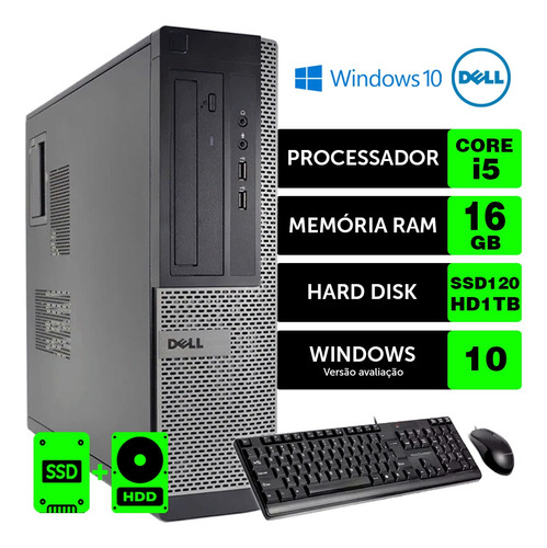 Computador Barato Dell Optiplex Int I5 2g 16gb Ssd120+1tb