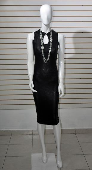 Vestido Negro De Vinyl, Elegante, Sin Mangas