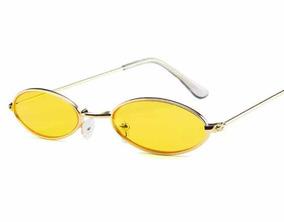 0387e7573 Óculos Sol Redondo Pequeno Trap Hype Retro Vermelho Amarelo