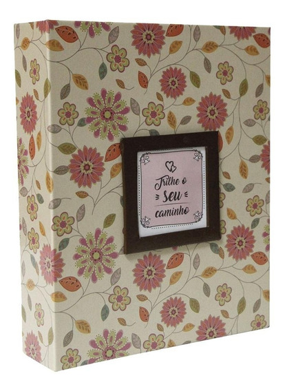 Álbum Para 200 Fotos 10x15 Com Janela - Floral Creme