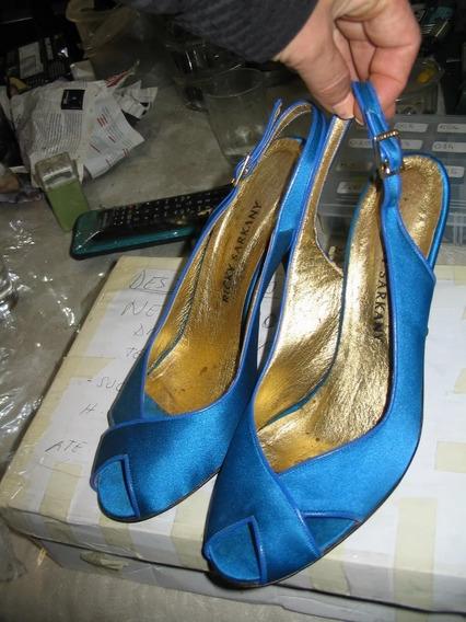 Stilettos Boca Pez Raso Combinado Cuero Azul Taco Aguja 10 C
