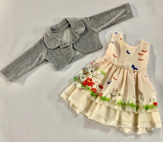 Vestido Festa Infantil Com Bolero