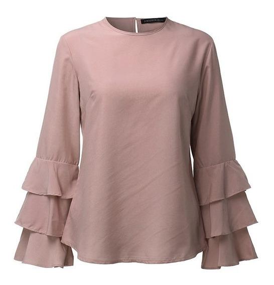 Camisa Blusa Elegante Casual Manga Larga Con Olane Moda 2019
