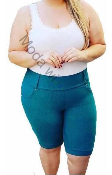 Kit Com 4 Shorts Feminino Cotom Plus Size 44 Ao 54
