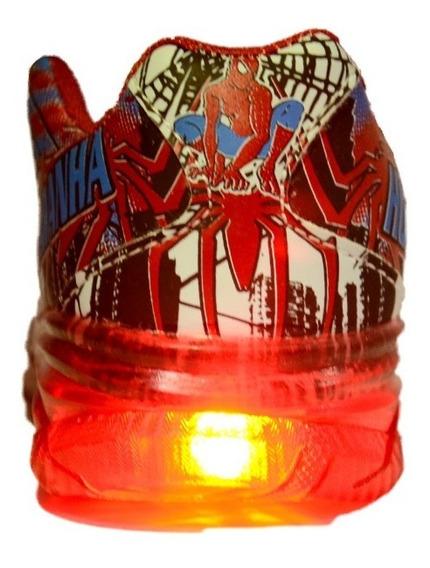 Tenis Infantil Led Homem Aranha Vermelho