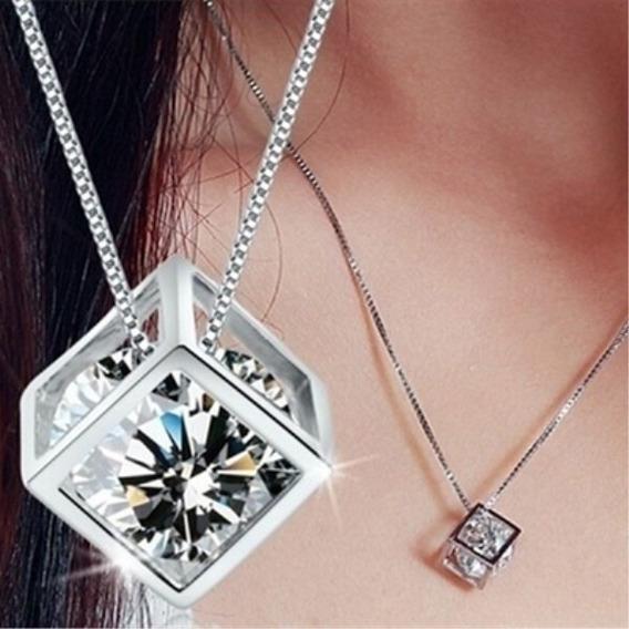 Colar Diamante E Pingente Estilo Quadrado - Leia Descrição