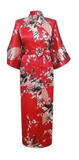 Kimono Bata Mujer De Seda Oriental Flores Y Pavo Real