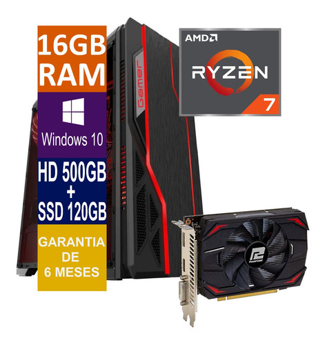 Pc Gamer Cpu Ryzen 7 16gb, Hd 500gb + Ssd 120gb, Rx 550 4gb
