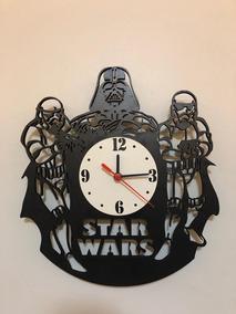 Relógio De Parede Star Wars Mdf Preto