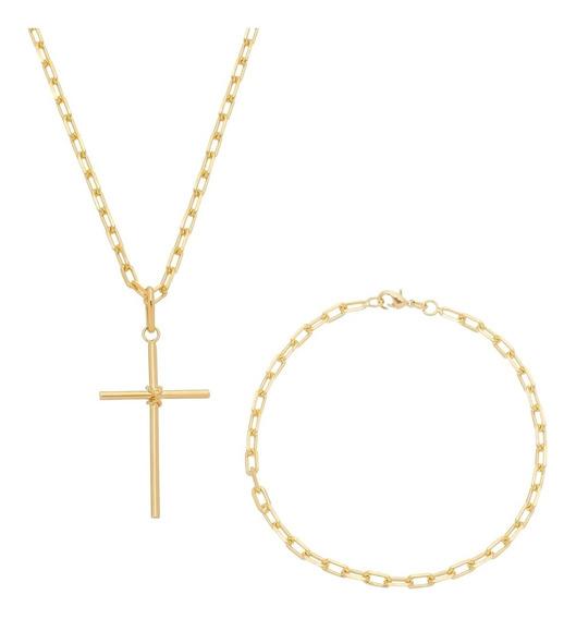 Corrente Masculina 70cm Pulseira 20cm Crucifixo Banhada Ouro
