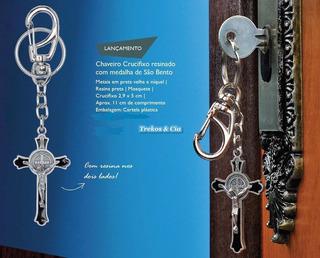 Chaveiro Crucifixo Resinado C/ Medalha São Bento- Lançamento