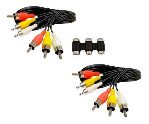 Imagen 1 de 2 de 2 Cable Rca-rca  De 1.8m + 1 Cople Rca-rca